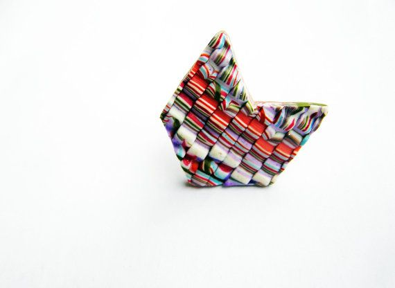 Striped chevron ring geometric ring abstract ring by Feelingfimo