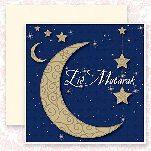 Eid Mubarak 'Crescent Moon and Stars'.  A beautiful card specially designed for this festive occasion.  Price : £2.25 http://www.inkipinki-cards.co.uk/Crescent-beautiful-specially-designed-occasion/dp/B00FX3F6YO