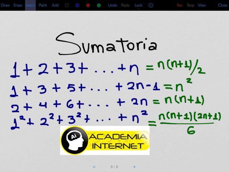 Sumatoria de números consecutivos, pares, impares, cuadrados, cubos