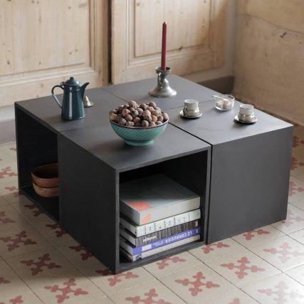 Cubes en béton pour créer une table basse