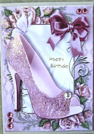 PINK SPARKLE SHOES IN ROSE FRAME WITH BOW on Craftsuprint designed by Nick Bowley - made by Noni O'Neil - I printed out my design onto Crafty Bob's card, cut out and mounted up my design into a 3D. I added glitter to finish off my design, a greetings tag and some pink and silver diamentes. - Now available for download!