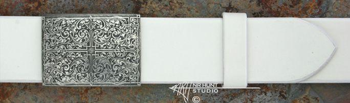 Engraver: N.R. Hunt  Sterling Silver Renaissance R   Tabula Rasa Channel Belt Buckle