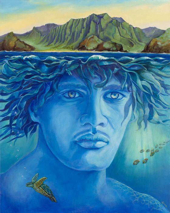 I saw this image and really liked it. It's an interpretation of Kanaloa, god of the ocean. Figuratively, the word kanaloa means total confidence without arrogance and refers to one's center. Cool, yeah?