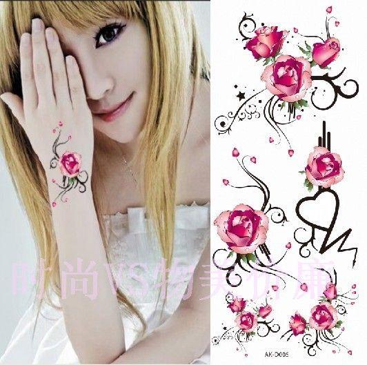 sierlijke tattoo | tattoo stickers waterdichte vrouwen roze roos totem tattoo stickers