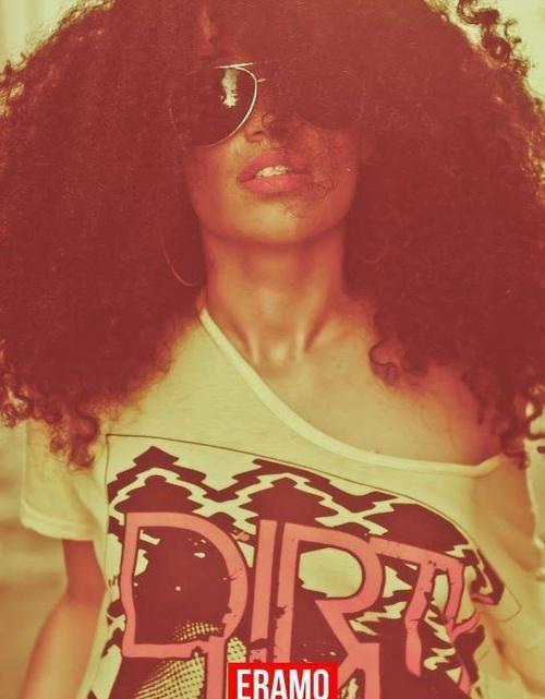 big curly hair & glasses