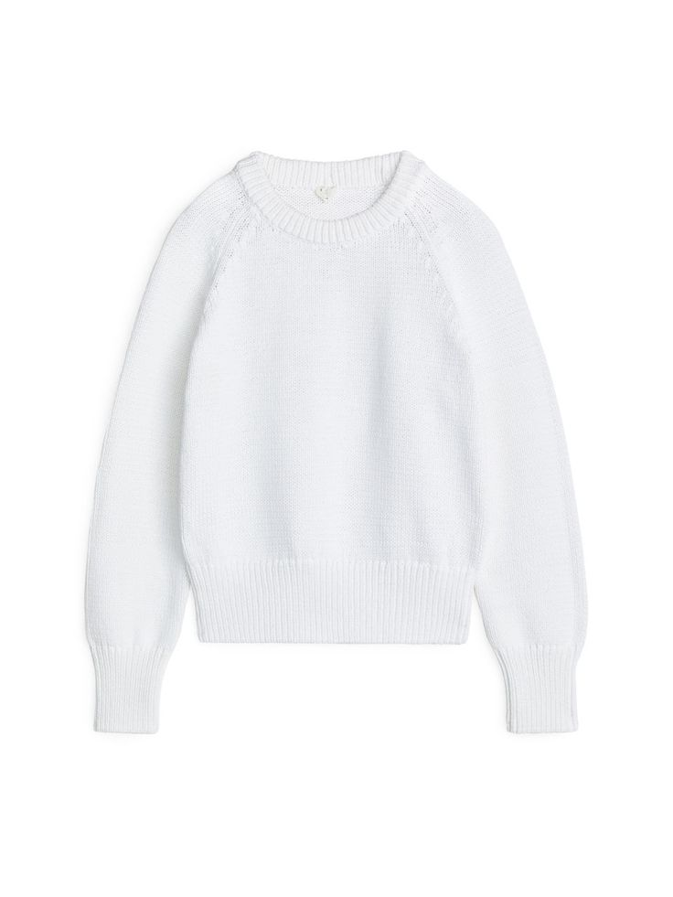 Chunky-Knit Cotton Jumper - White - Knitwear - ARKET GB