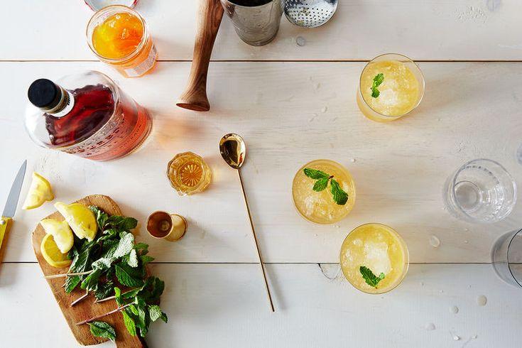 Whiskey Peach Smash -  Serves 1 ------ 1 1/2 ounces Bulleit bourbon,  1 heaping barspoon peach jam,  1 barspoon honey,  1 fat lemon wedge,  4 to 6 mint leaves