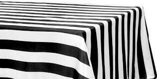 Black and White Striped Rectangle Cloth '