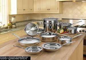 Cuisinart Cookware Set 17 Piece Stainless Steel Pots Pans Stockpot ...