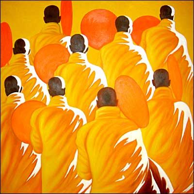 Paintings of monks always catch my eye. This is the work of the artist Min Wae Aung.