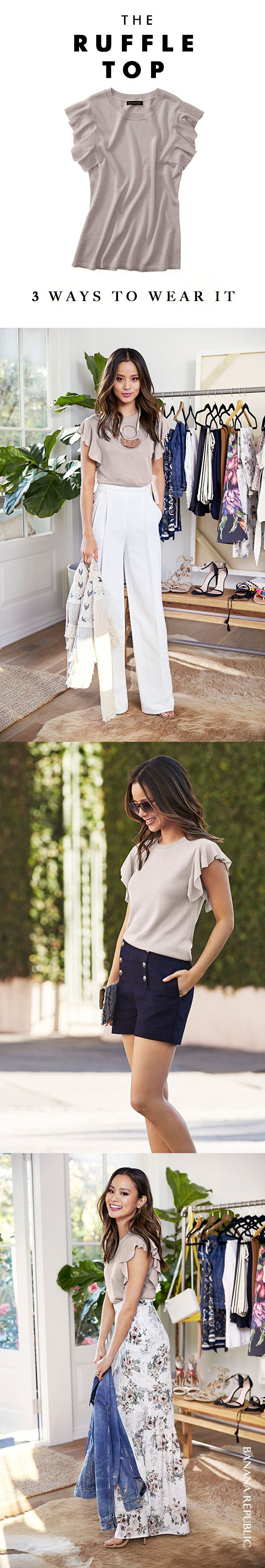 Style icon Jamie Chung picked her summer Closet VIPs: very important pieces that can be worn in so many ways. This soft pink ruffle top has great texture and a touch of feminine flavor. Play up the beautiful color with a fun, floral maxi skirt. Or, wear it with wide-leg pants, a cool statement necklace and a fun jacket.