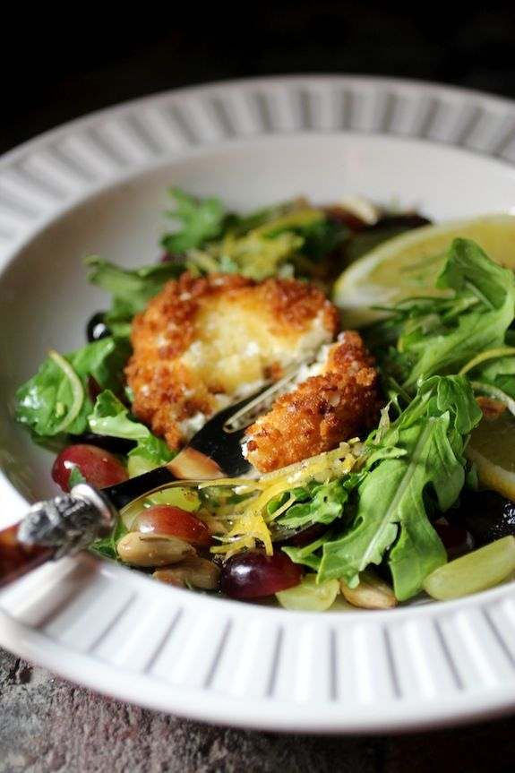 Chèvre Chaud (fried goat cheese) over a Salad of Arugula, Grapes, Almonds with Limoncello Rosemary Dressing #Summerfest
