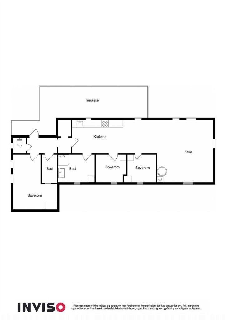 Hytte over ett plan med noe fornyet planløsning. Overbygget inngangsparti med terrasseplatting på 12 kvm til entre/gang med dører til dorom, soverom og bod. Videre med gang med tilgang til kjøkken og stue i åpen løsning med dører til baderom og to soverom. Inneholder stue kjøkken i åpen løsning, 3 soverom, gang/vindfang. innvendig bod.