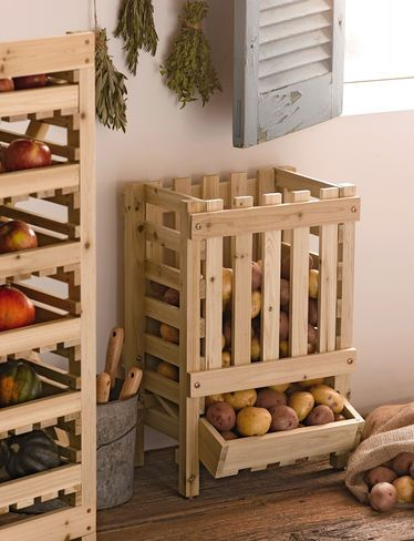 Potato Bin and produce rack- must haves for kitchen someday!