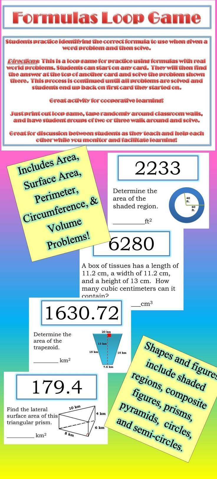 Best 25 circle volume formula ideas on pinterest patronage great activity for practice on using formulas for area surface area perimeter circumference fandeluxe Choice Image