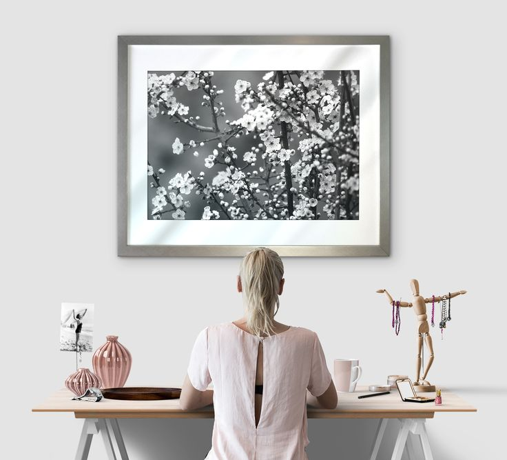 The addition of the cherry blossom art just finishes this chic & feminine space perfectly!