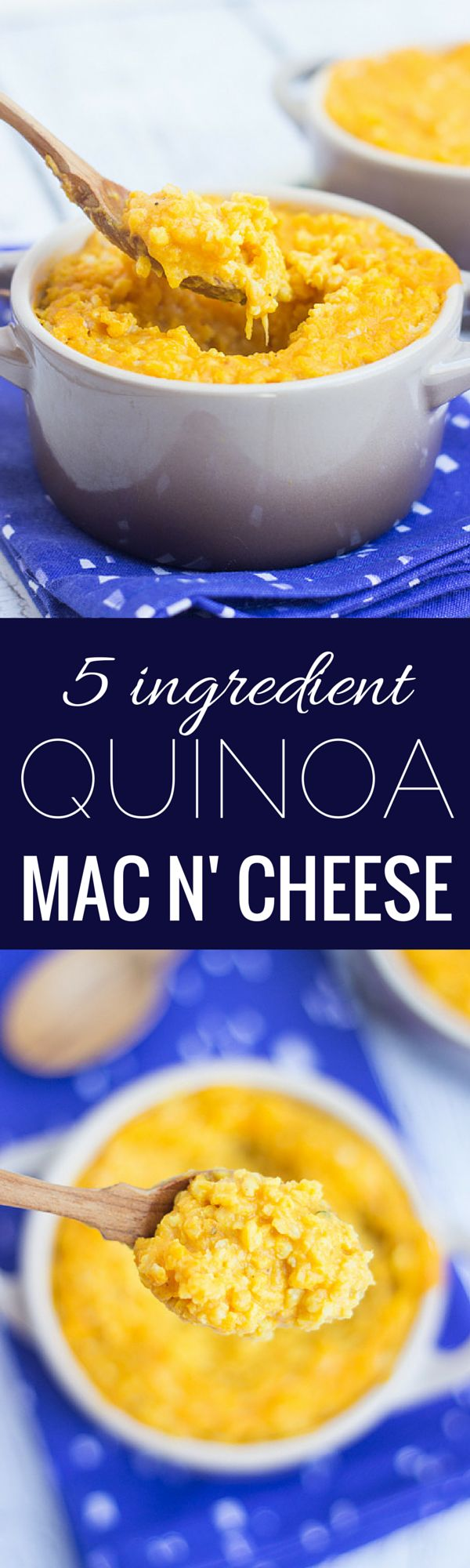 5-ingredient Quinoa Mac and Cheese....with a super healthy secret ingredient. Click to find out! More