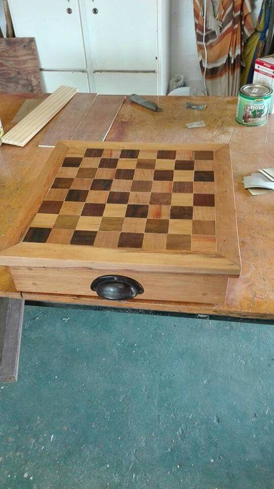 Reclaimed wood chessboard