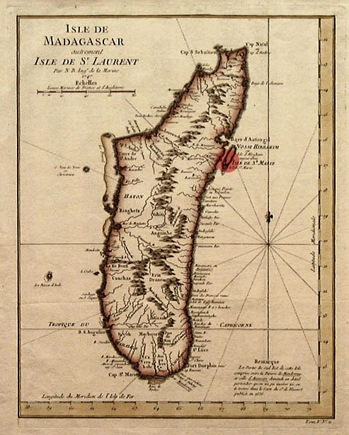 "A map of Madagascar, with Île Sainte-Marie, a possible location of Libertatia, marked by a red spot. For twenty-odd years during the 17th century, on the coast of Madagascar, there was a democratic colony comprised of surprisingly noble pirates who lived together in peace and harmony. They bankrolled their colony with spoils stolen from evil slave ships traversing the Indian Ocean. This astonishing place, next to the sea ""abounding with fish,"" was called Libertatia."