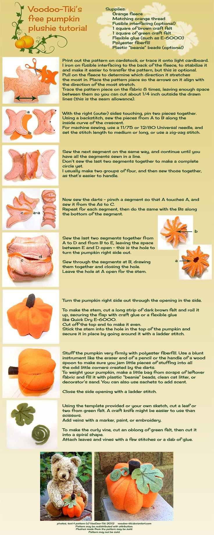 Pumpkin Plushie Tutorial by Voodoo-Tiki.deviantart.com on @deviantART