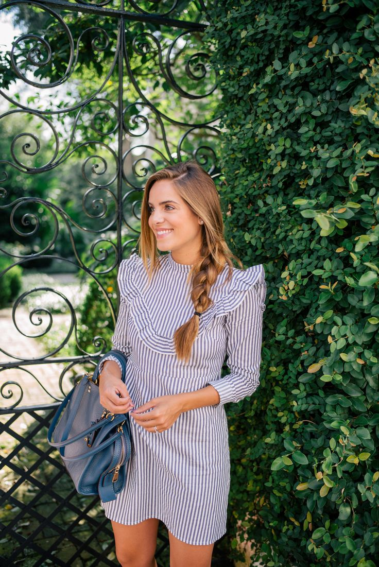 Gal Meets Glam Striped Ruffled Dress - ASOS dress & Coach bag c/o