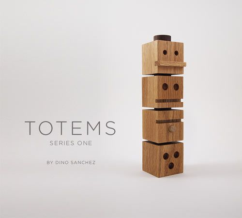 TOTEMS is a new set of stackable wooden blocks designed by Dino Sanchez. For people of all ages to use in the playroom or at the office, each block is handmade in the US from solid oak and walnut with non-toxic finishes.