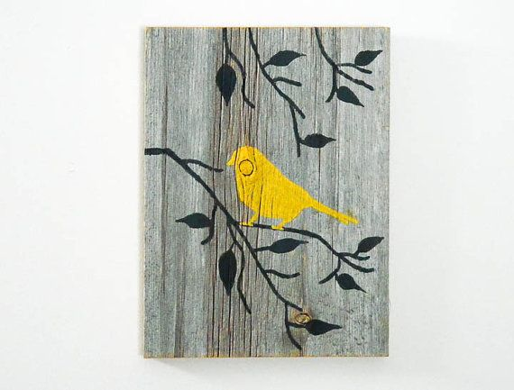 Reclaimed Barnwood Hand-Painted Wood Wall Art Rustic Art - Yellow - Bird on Branch Silhouette Design on Etsy, $30.00