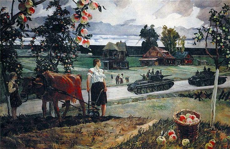 Александр Дейнека Едут на войну. 1944 г. Русский музей, СПб