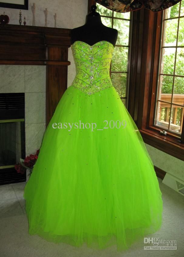 Wholesale Hot Sale New Neon Lime Presentation Ball Prom Dress Evening Dress, Free shipping, $129.92-152.32/Piece | DHgate