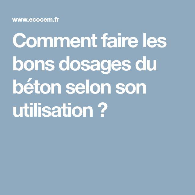 Comment Faire Les Bons Dosages Du Béton Selon Son Utilisation ?