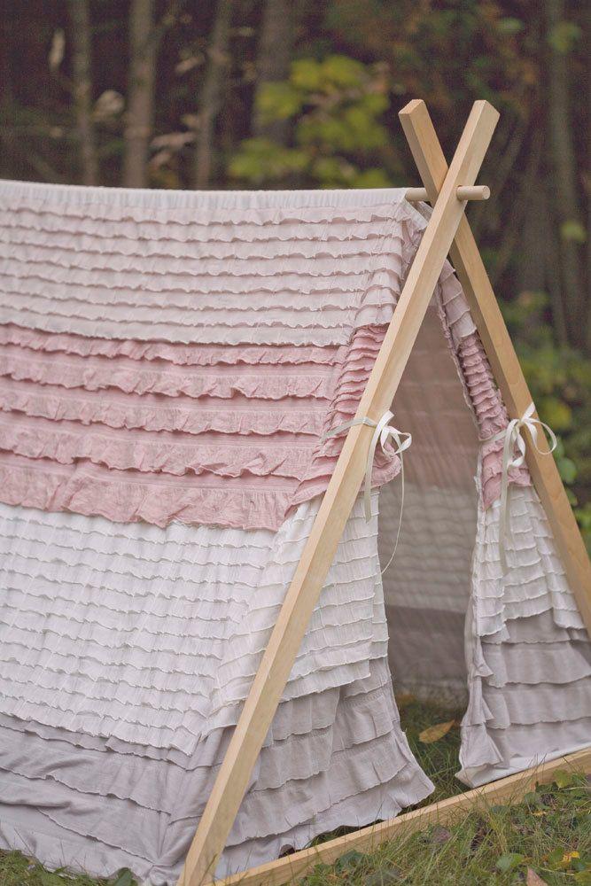 Kids A-Frame Ruffle Teepee Play Tent
