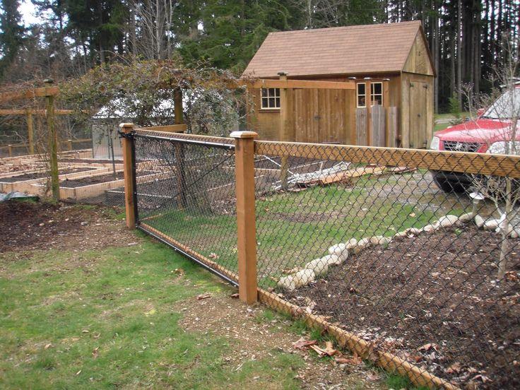 Chain Link Fence With Cedar Wood Trim Garden Amp Yard In