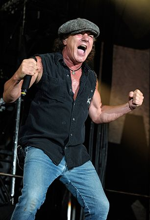 Brian Johnson of AC/DC performs in Melbourne, Australia.
