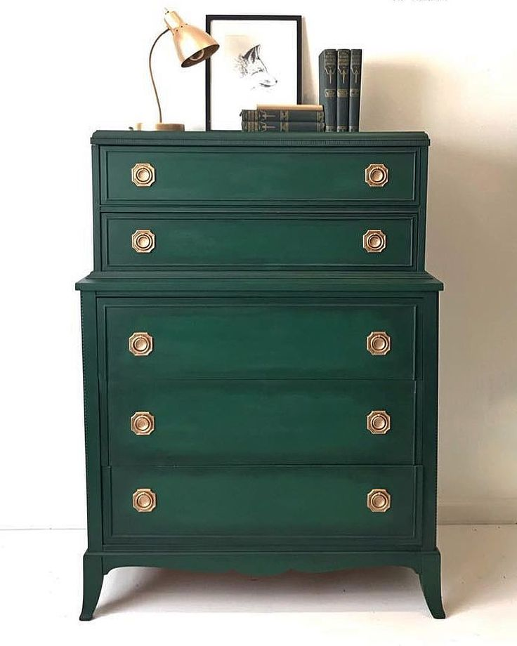 Chalk Paint® by Annie Sloan in Amsterdam Green and Black Chalk Paint® Wax make a stunning combination for a dresser with classic lines and antique gold hardware. Project by Second Chances by Misty.