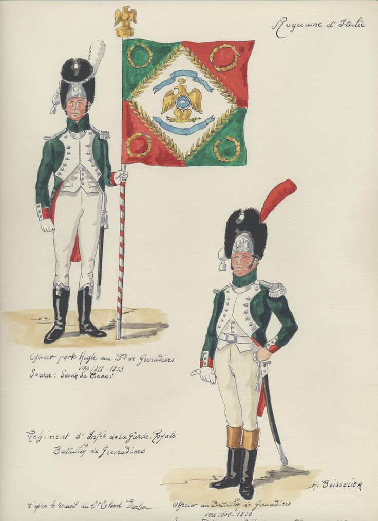 Italy; Royal Guard, Grenadier Battalion, Officer Porte-Aigle, 1811-13 & Officer 1806-10 by H.Boisselier