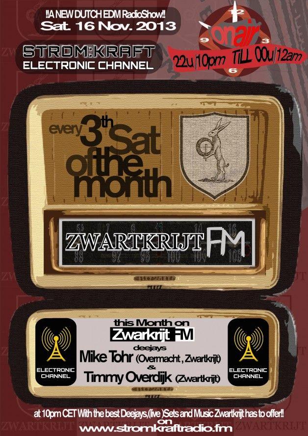 Saturday 16th Nov. 10.00pm (CET) – STROM:KRAFT presents ZWARTKRIJT FM exclusive Radio Show hosted by Timmy Overdijk (Netherlands)