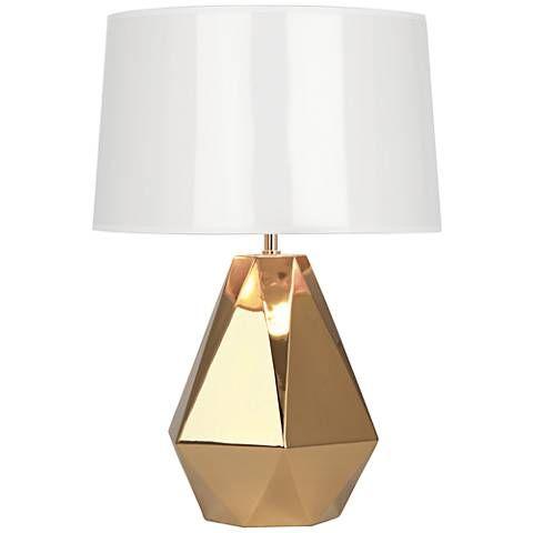 Robert Abbey Delta Gold Metallic Glaze Ceramic Table Lamp