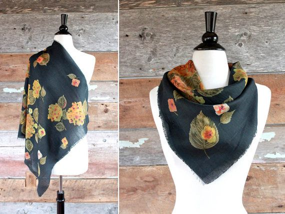 black floral scarf / leaf and flower print by FancyLuckyVintage