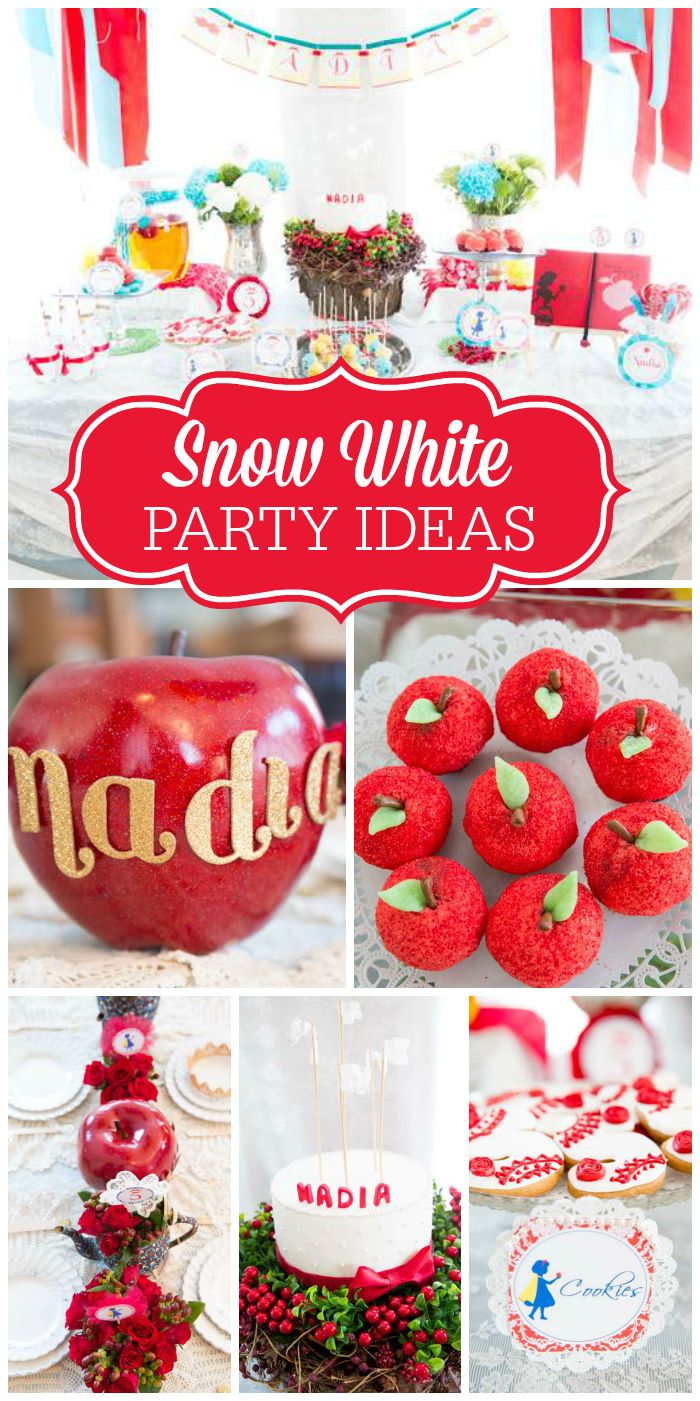 A stunning Snow White girl birthday party with amazing decorations and treats! See more party planning ideas at CatchMyParty.com!