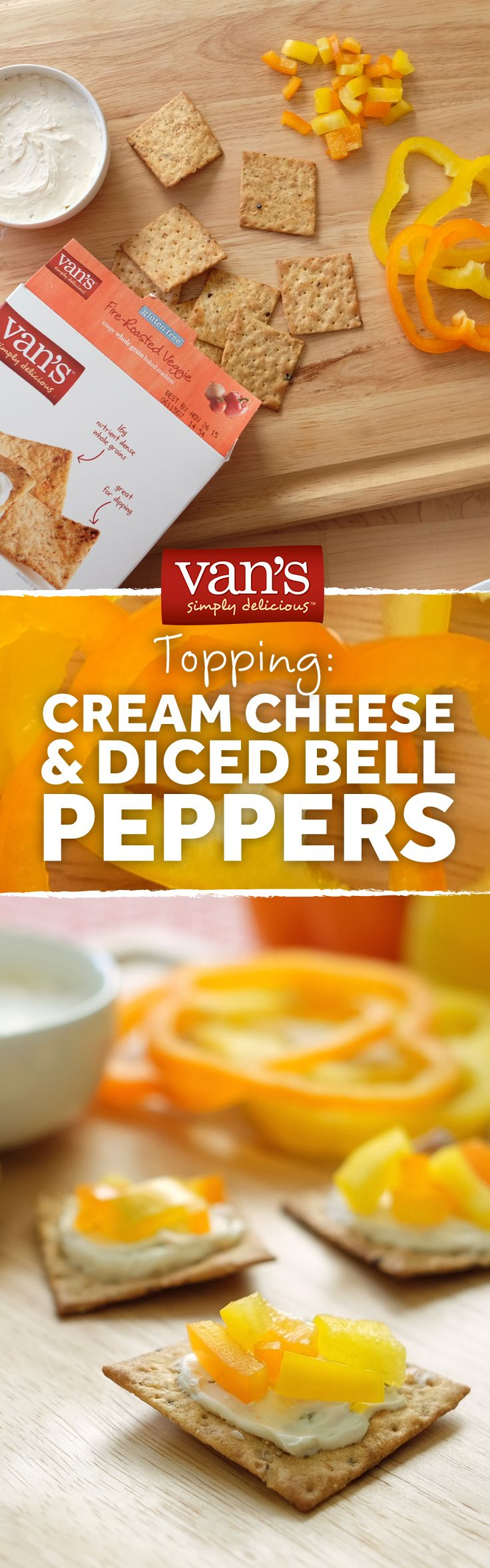 Pair our Fire Roasted Veggie crackers with garden veggie cream cheese and diced peppers for a topped and tasty snack!