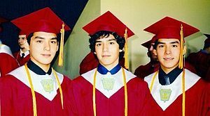 Triplet brothers at graduation. Identical triplets are extremely rare, something that occurs only once in every 500,000 births. - Wikipedia, the free encyclopedia