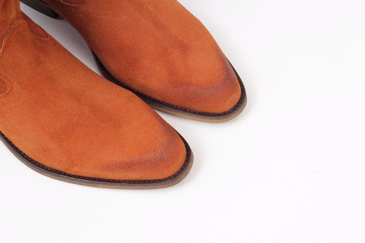 Botas cómodas piel camperas arrugadas color marrón camel -  tawny brown leather wrinkled boots super comfort miMaO