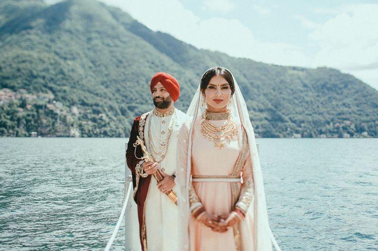 Noone looks more royal than the couple from this Sikh wedding at Lake Como | Image by LaTo Photography  #couple #cutecouple #destinationwedding #weddinglocations #wedding #weddinginspiration #bridalfashion #groomstyle #bride #groom #fashion #sikh #sikhwedding #southasian #southasianwedding