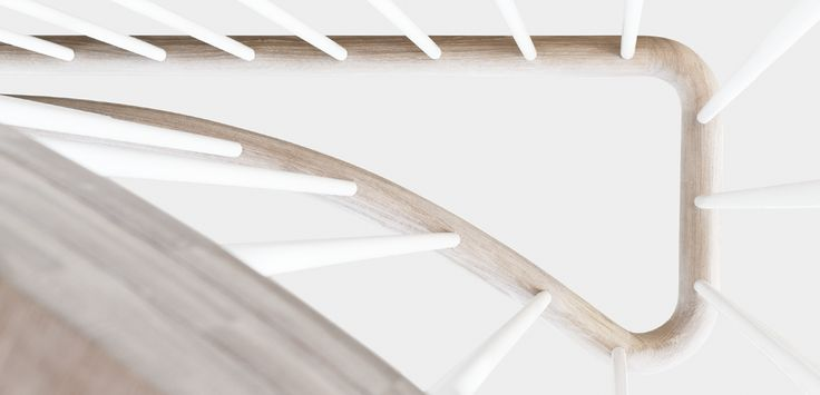 Railing detail. Spiral staircase in solid oak. Design by Tron Meyer, Norway. www.risameyer.com