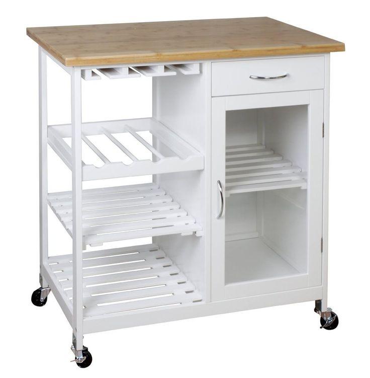 Wooden/Bamboo Kitchen Trolley Cart/Butcheru0027s Trolley With Shelves U0026  Drawer BR101