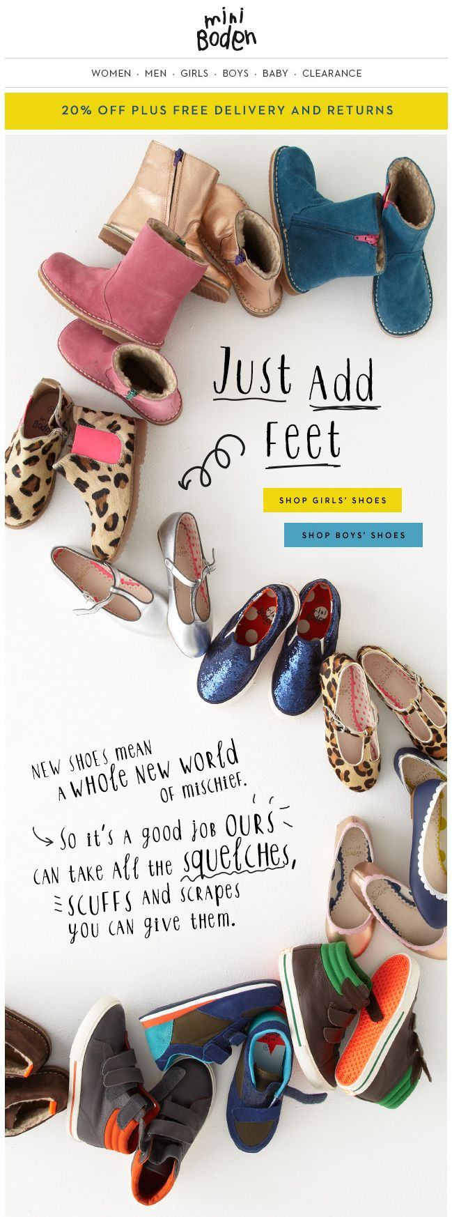 Boden email newsletter - shoes and boots