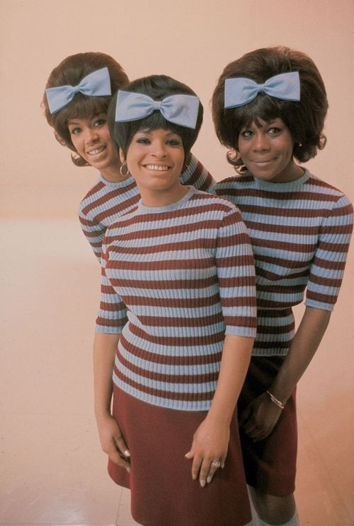 The Marvelettes: Girl Groups of the 1960s (Look & Listen)…    Please Mr. Postman…Motown's 1st number one pop hit, 1961.  L to R: Katharine Anderson, Wanda Rogers, Gladys Horton: Motown, Numbers One, 1960S, Marvelett, Girls Group, Big Hair, Hair Bows, Stripes, 1960 S