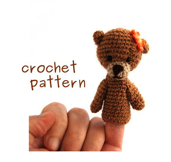 USD 4.31 bear finger puppet #crochetPATTERN, PDF Instant Download, how to make an #amigurumi finger puppet, puppet #tutorial, crochet animal tutorial