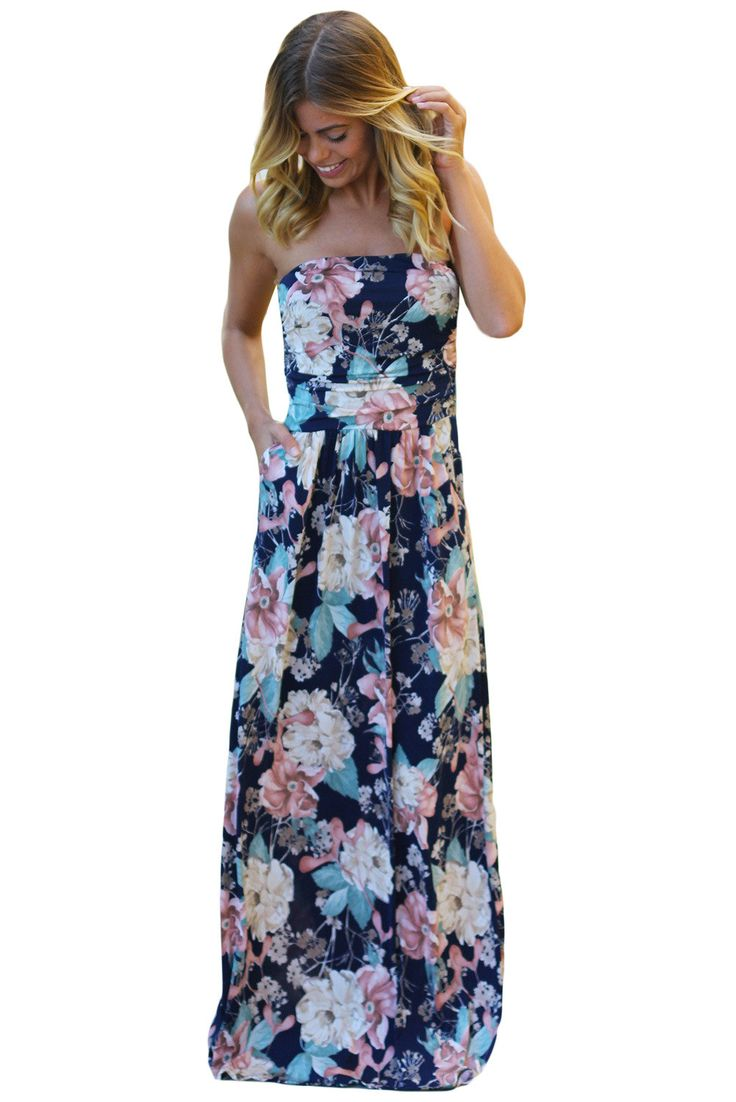 Chicloth Peach Navy Floral Strapless Maxi Dress with Pockets