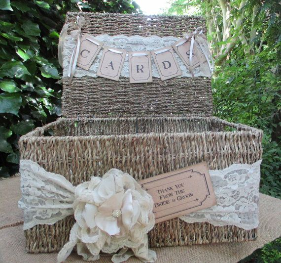 Wedding Card Post Box Seagrass Hamper Wedding Card Holder Post Box Decorated with lace and handmade flowers and bunting. A lovely way to store all the cards & messages you receive on your wedding day. Open or closed it looks lovely.  Size approx 36cms x 28cms x 18cms 13 3/4 x 11 x 7inches